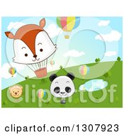 Clipart Of Cartoon Hot Air Balloons With Animal Faces Over A Pond And Hill Royalty Free Vector Illustration by BNP Design Studio