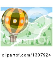Clipart Of A Hot Air Balloon Flying Over A Road And Mountains With Trees Royalty Free Vector Illustration