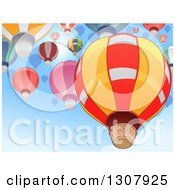 Clipart Of Hot Air Balloons Flying In A Blue Sky Against A Sun Burst Royalty Free Vector Illustration