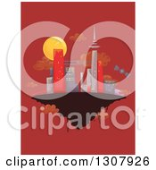 Clipart Of A Sketched City On A Floating Island Over Red Royalty Free Vector Illustration