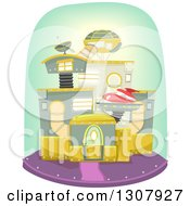 Clipart Of A Futuristic Mechanical House Royalty Free Vector Illustration