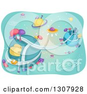 Clipart Of A Futuristic Alien City With Flying Saucers And Planets Royalty Free Vector Illustration