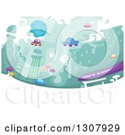 Clipart Of A Futuristic City With A Bus And Flying Cars Royalty Free Vector Illustration by BNP Design Studio