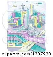 Clipart Of A Sketched Futuristic City With Flying Vehicles And Highways Royalty Free Vector Illustration