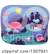 Clipart Of A Futuristic City With Trees Roads Flying Saucers And Buildings At Night Royalty Free Vector Illustration
