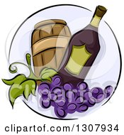 Wine Bottle With Purple Grapes And A Barrel In A Circle