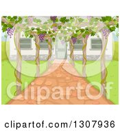 Clipart Of A Trellis With Grapes Over A Patio By A House Royalty Free Vector Illustration