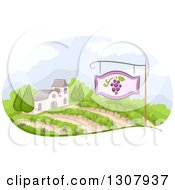 Clipart Of A Winery Building And Vineyard With A Sign Royalty Free Vector Illustration