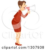 Clipart Of A Brunette Caucasian Business Woman Announcing With A Megaphone Royalty Free Vector Illustration by BNP Design Studio