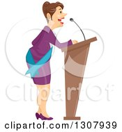 Clipart Of A Brunette White Business Woman Or Politician Speaking At A Podium Royalty Free Vector Illustration