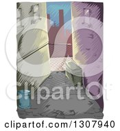 Clipart Of A Sketched Dark Alley In A City Royalty Free Vector Illustration