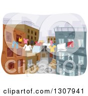 Clipart Of A Sketched City Street With Laundry Clothes Lines Royalty Free Vector Illustration