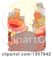 Clipart Of A Sketched City Street With Autumn Trees Royalty Free Vector Illustration