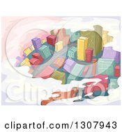 Clipart Of An Aerial View Of A Sketched City And Roads Royalty Free Vector Illustration