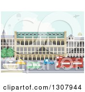 Clipart Of A Street With A Water Fountain Urban Buildings Hot Air Balloons And A Plane Royalty Free Vector Illustration