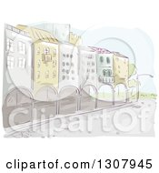 Clipart Of A Sketched Row Of Buildings With Arches Royalty Free Vector Illustration