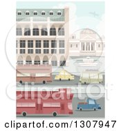 Clipart Of A Busy City Street With Double Decker Buses And Cars By Buildings Royalty Free Vector Illustration