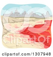 Clipart Of A Red Tide Beach And Sketched City Royalty Free Vector Illustration
