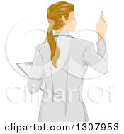 Clipart Of A Rear View Of A Dirty Blond White Female Doctor Holding A Clipboard And Holding Up A Finger Royalty Free Vector Illustration
