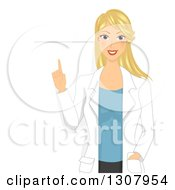 Clipart Of A Happy Blond White Female Doctor Or Veterinarian Giving A Lecture Over A Blank Sign Royalty Free Vector Illustration by BNP Design Studio