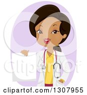 Clipart Of A Happy Black Female Doctor Holding A Blank Prescription Over Purple Royalty Free Vector Illustration by BNP Design Studio