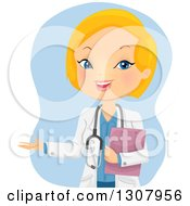 Clipart Of A Happy Blond White Female Doctor Holding A Medical Chart And Presenting Over Blue Royalty Free Vector Illustration by BNP Design Studio