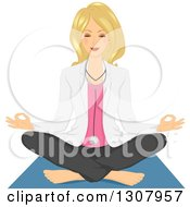 Relaxed Blond White Female Doctor Doing Yoga And Meditating