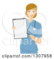 Clipart Of A Friendly Dirty Blond White Female Doctor Or Nurse In Blue Scrubs Pointing To A Blank Clipboard Royalty Free Vector Illustration by BNP Design Studio