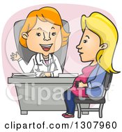 Cartoon White Female Ob Gyn Doctor Speaking With A Pregnant Patient