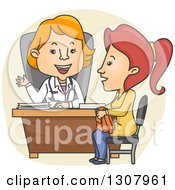 Clipart Of A Cartoon White Female Doctor Speaking With A Patient Royalty Free Vector Illustration