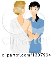 Clipart Of A Black Haired Female Doctor Examining A Patients Breasts Royalty Free Vector Illustration by BNP Design Studio