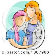 Sketched Red Haired White Female Doctor Caring For A Young Cancer Patient