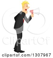 Blond White Businessman Shouting Out Commands Through A Megaphone