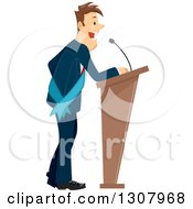 Clipart Of A Brunette White Business Man Or Politician Wearing A Sash And Giving A Speech Royalty Free Vector Illustration by BNP Design Studio
