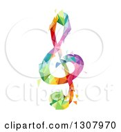Clipart Of A Colorful Geometric G Clef Music Note Royalty Free Vector Illustration by BNP Design Studio