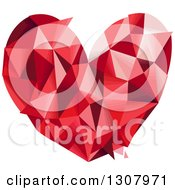 Clipart Of A Geometric Red Love Heart Royalty Free Vector Illustration