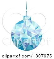 Clipart Of A Geometric Blue Christmas Bauble Hanging Royalty Free Vector Illustration