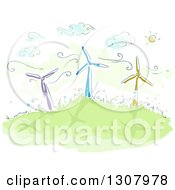 Clipart Of A Sketch Of Colorful Windmills On A Hill On A Sunny Day Royalty Free Vector Illustration
