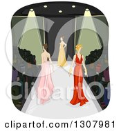 Clipart Of Sketched Female Models In Long Gowns Walking In A Fashion Show Royalty Free Vector Illustration