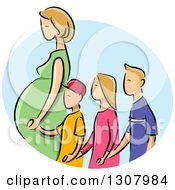 Sketched Blond White Pregnant Mother Holding Hands And Walking With Three Children In A Blue Oval
