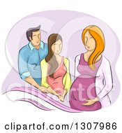 Clipart Of A Sketched White Couple And Surrogate Pregnant Woman Royalty Free Vector Illustration by BNP Design Studio