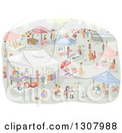 Clipart Of A Sketch Of A Flea Market With People Royalty Free Vector Illustration by BNP Design Studio