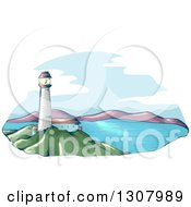 Clipart Of A Sketched Lighthouse Over A Bay Royalty Free Vector Illustration