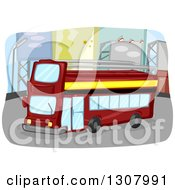Clipart Of A Red Double Decker Bus Driving Down A Street With Billboards Royalty Free Vector Illustration