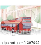 Clipart Of A Red Open Top Double Decker Bus Driving In A City Royalty Free Vector Illustration by BNP Design Studio