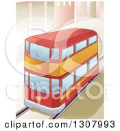Clipart Of A Red Double Decker Bus Driving In A City Royalty Free Vector Illustration