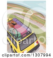Clipart Of An Aerial View Of Luggage On A Rack Of A Yellow SUV On A Road Trip Royalty Free Vector Illustration