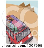 Clipart Of An Aerial View Of Luggage On A Rack Of A Red SUV On A Road Trip To The Egyptian Pyramids Royalty Free Vector Illustration