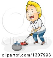Clipart Of A Cartoon Blond White Man Pushing A Curling Stone With A Broom Royalty Free Vector Illustration by BNP Design Studio