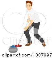 Clipart Of A Brunette White Man Pushing A Curling Stone With A Broom Royalty Free Vector Illustration by BNP Design Studio